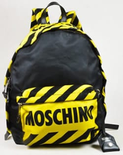 Moschino Black Yellow Nylon and Leather Trim Caution Tape Backpack