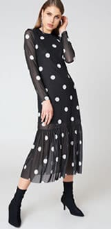 Women's Fashion Black White Dot Dress SS18