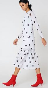 Women's fashion Long white dresss with black dots
