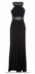 Morgan and Co Black Embellished Evening Dress