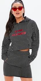 madison beer x missguided pinstripe hoodie