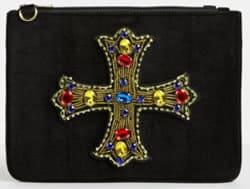 Black Velvet Gothic Jewelled Cross Clutch Bag