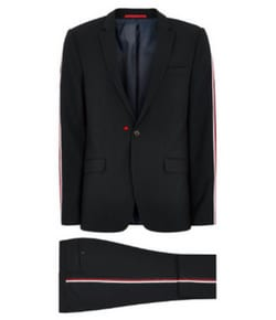 Navy Skinny Suit Side Taping