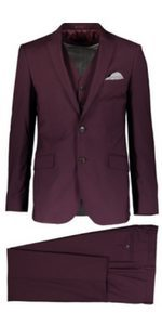Mens Clothing Burgundy Suit