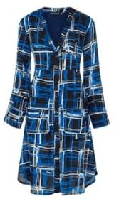 Women's Clothing Blue Check Shirt Dress