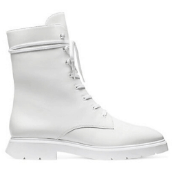 White Leather Designer Combat Boot